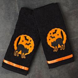 Sourpuss Haunted Cats Hand Towel Set