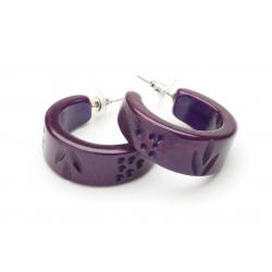 Golden Grape Fakelite Hoop Earrings
