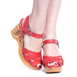 Lucky Lou Pagoda Wedge Red Strap