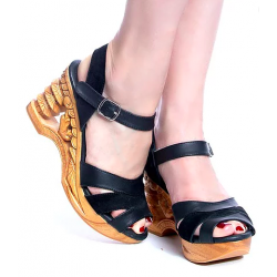 Lucky Lou Pagoda Wedge Black Strap