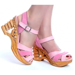 Lucky Lou Pagoda Wedge Pink Strap