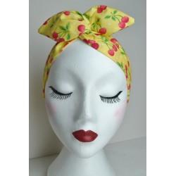 Yellow Cherries Bow Wire Headband Rockabilly