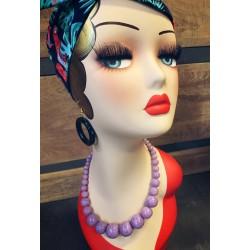 Carved Poppy Lila Fakelite Beads