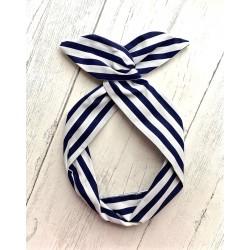 Navy Stripe Bow Wire Headband Rockabilly
