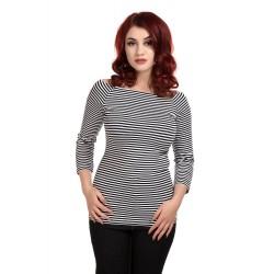 Collectif Frou Frou Striped Top Black & White
