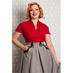 Miss Candyfloss Birdie 1950's Top Red