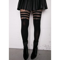 Fishnet Over The Knee Opaque Tights