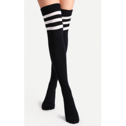 Referee Overknee Socks Black & White