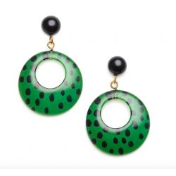 Green Leopard Drop Hoop Earrings