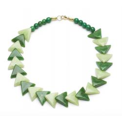 Sage and Lichen Fakelite Triangle Necklace
