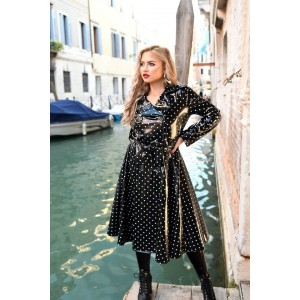 Skirted Raincoat Black Shiny White Dots