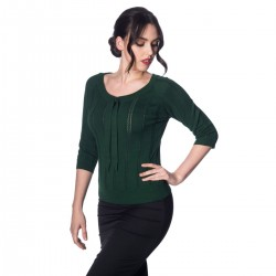 Banned Retro Belle Bow Pointelle Forest Green