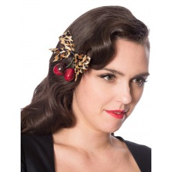 Banned Retro 50s Wild Cherry Hair Clip Leopard