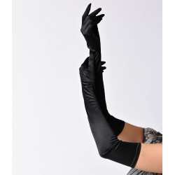 Unique Vintage Black Satin Opera Gloves
