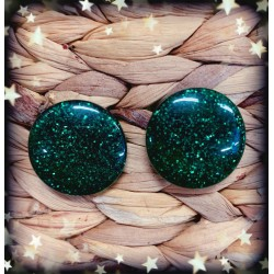 Collectif Sparkly Dome Earrings Green