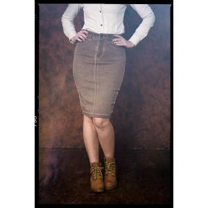 Queen Kerosin Denim Pencil Skirt OilwashBrown