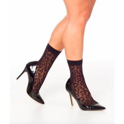 Leopard Sheer Ankle Sock Black