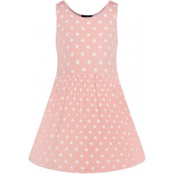 Kids Polka Dot Swing Dress Baby Pink