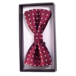 Ribbon Bow Tie Polka Burgundy