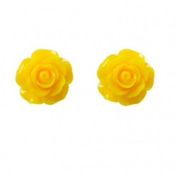 Collectif Rose Studs Yellow