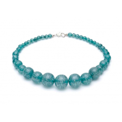 Teal Glitter Beads Necklace