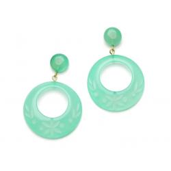 Mint Sorbet Fakelite Drop Hoop Earrings