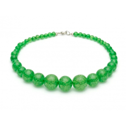 Leaf Green Glitter Beads Necklace