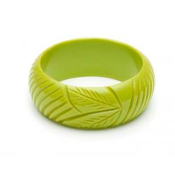Wide Chartreuse Fakelite Bangle