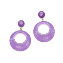 Parma Violet Fakelite Drop Hoop Earrings