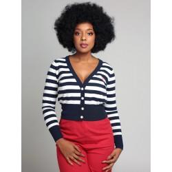 Collectif Purdy Nautical Striped Cardigan