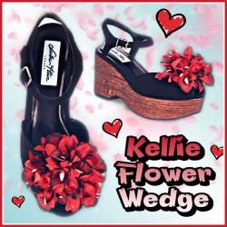 Lulu Hun Flower Wedge Black