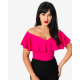 Unique Vintage Hot Pink Ruffle Frenchie Top