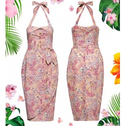 Queen Kerosin Tropical Hibiscus Pink Dress