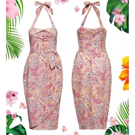 Queen Kerosin Tropical Hibiscus Pink Dress