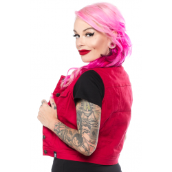 Sourpuss Biker Vest Red