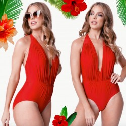 Unique Vintage Red Halter Derek Swimsuit