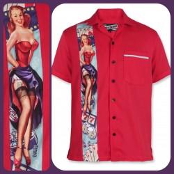 Liquor Brand Nevada Bowling Shirt Red