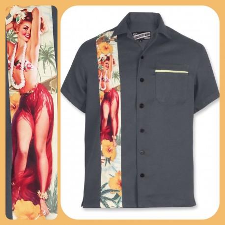 Liquor Brand Hawaii Bowling Shirt Grey