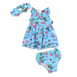 Six Bunnies Flamingo Set Dress Blue
