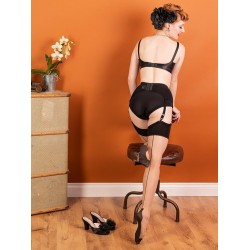 Glamour Cuban Heel Stockings Champagne Black