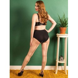 Seamed Tights Contrast Coffee