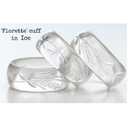 Carved Lucite Cuff Florette Ice