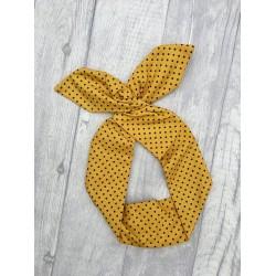 Mustard Polka Bow Wire Headband Rockabilly