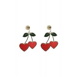 Collectif Heart Cherries Earrings