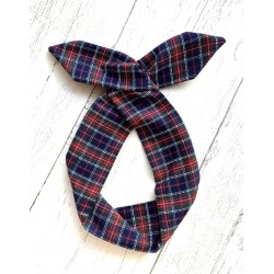 Navy Tartan Bow Wire Headband Rockabilly
