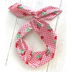 Strawberry Polka Bow Wire Headband Rockabilly