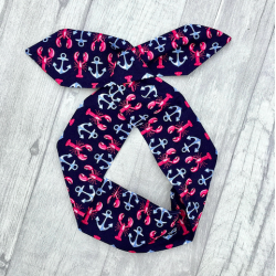Navy Anchor Bow Wire Headband Rockabilly