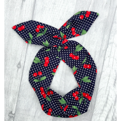 Navy Cherries Bow Wire Headband Rockabilly