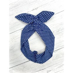 Blue Polka Bow Wire Headband Rockabilly