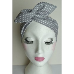 Grey Polka Bow Wire Headband Rockabilly